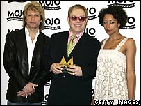 Jon Bon Jovi and Sir Elton John with Corinne Bailey Rae