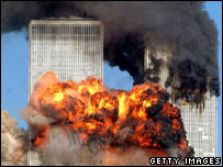 New York's Twin Towers on fire in 2001 after the 9/11 attacks