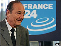 French President Jacques Chirac visits the headquarters of the France 24 news channel