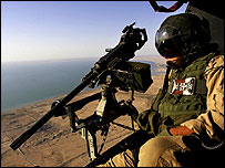 US marine aboard helicopter in Anbar province