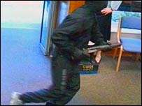 Bank robber armed with shotgun