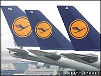 Lufthansa logo on the tails of its planes