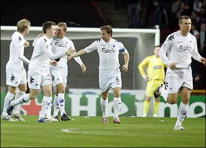 Copenhagen celebrate Atiba Hutchinson's goal