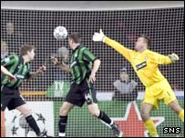 Artur Boruc is powerless to stop Copenhagen going 2-0 up