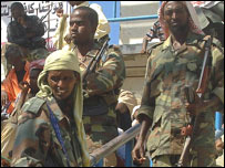 Armed Islamic Court guards at a rally in the Somali capital, Mogadishu (file image)
