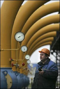 Worker at gas pumping station in Belarus