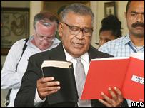Fijian Prime Minister Jona Senilagakali is sworn into office