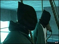 Still from Iraqi government video of criminals being hanged 