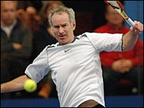 John McEnroe in action at the Royal Albert Hall