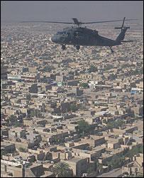 Blackhawk helicopter over Baghdad