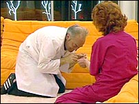 George Galloway pretends to be a cat in Big Brother