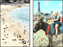 Bondi beach and Blackpool beach