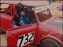 Chris Stewart in his racing mini (courtesy of John Stewart)