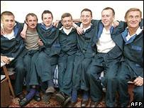 Rescued Russian crew members