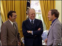President Gerald Ford flanked by Donald Rumsfeld (left) and Dick Cheney in 1975