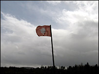 A flag at Culloden Battlefield