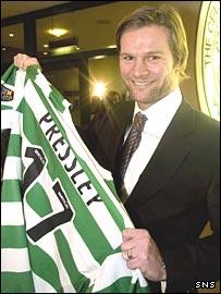 Steven Pressley shows his delight at having joined Celtic