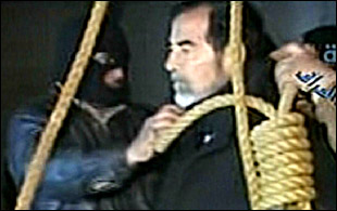 Saddam Hussein on the gallows in a frame form al-Iraqiya TV