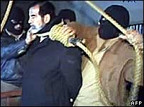 Saddam Hussein on the gallows in a frame from al-Iraqiya TV