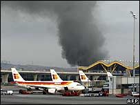 Smoke over Madrid airport