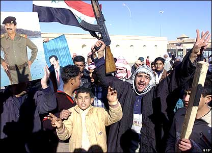 Saddam supporters protest