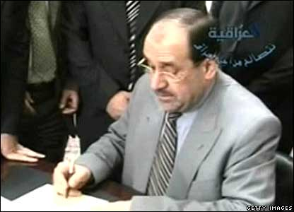 Prime Minister Nouri Maliki signs death warrant