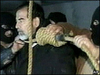 Saddam Hussein on the gallows