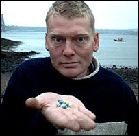 Tom Heap with plastic mermaid's tears