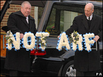"""A floral tribute at the funeral of DJ Alan 'Fluff"""" Freeman at the Southwest Middlesex Crematorium in Hanworth"""