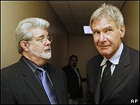 George Lucas, izq., y Harrison Ford