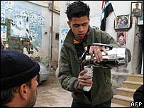 Coffee served to those attending mourning meeting at a Bethlehem refugee camp.