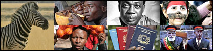 Composite of pictures showing a zebra, men drinking from a gourde, a woman carrying oranges, Kwame Nkrumah, Somali passports, an Egyptian football fan and Ethiopian veteran soldiers.