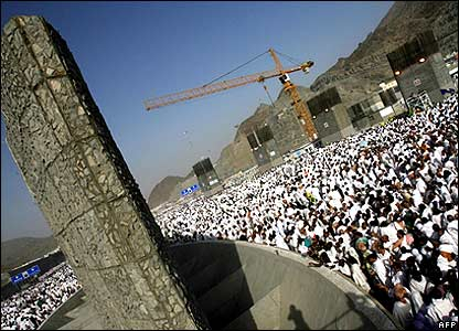 Muslim pilgrims attend the last part of the hajj - the ritual stoning of three pillars representing Satan - in Mina.