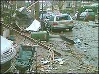 Destruction caused by tornado