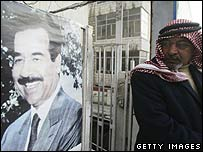 A portrait of Saddam Hussein displayed at the Jordanian Baath Party office in Amman
