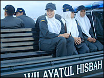 Aceh Sharia police on patrol
