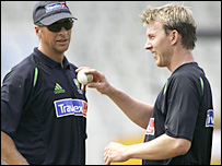 Australia bowling coach Troy Cooley and bowler Brett Lee