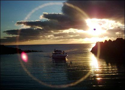 Sun shining on harbour