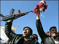 Celebrations in Sadr City, Baghdad, after news of Saddam Hussein's execution