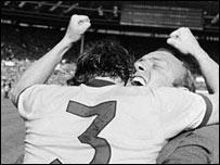 Bertie Mee and Bob McNab celebrate Arsenal's 1971 FA Cup final triumph