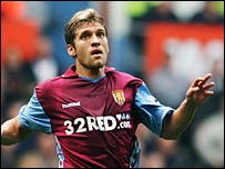 Stilian Petrov in action for Aston Villa