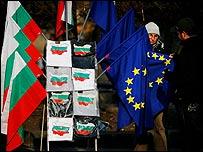 A street vendor in Sofia, Bulgaria sells EU flags
