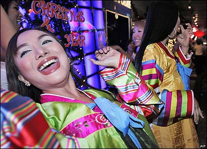 Thai bar hostesses celebrate in the capital, Bangkok