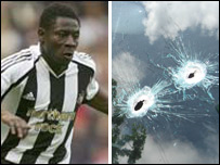Obafemi Martins and the bullet-riddled windscreen of his Mercedes