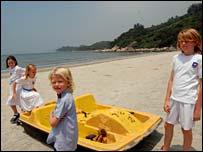 Hong Kong schoolchildren Charlotte, Sashie, Harley and Jack