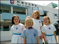 Schoolchildren in Hong Kong