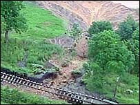 Part of a railway line in Highley, Shropshire, affected by land collapsing 