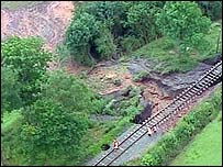 Part of a railway line in Highley, Shropshire affected by land collapsing