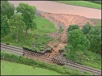 Landslide on the Severn Valley Railway