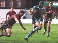 Tom James heads in for his first Blues try at the Arms Park